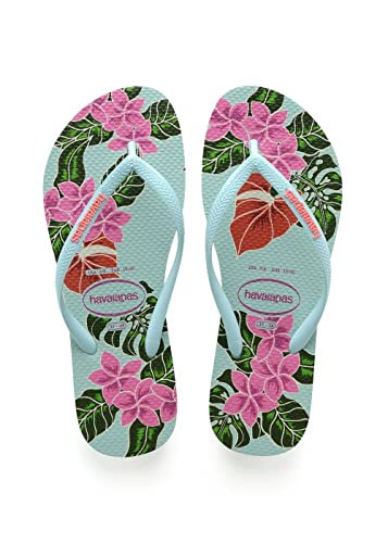 7ead01f64 Havaianas Womens Slim Floral Rubber Flip-Flops Ice Blue Size EU 37 38 -