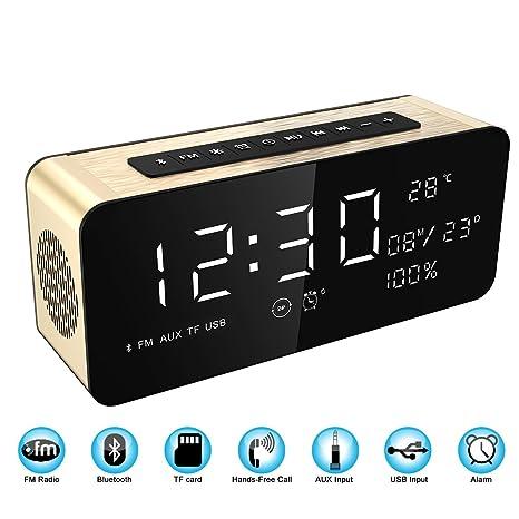 Soundance Reloj de Alarma con radio de Pantalla Grande Bocina Bluetooth con sonido Premium HD &