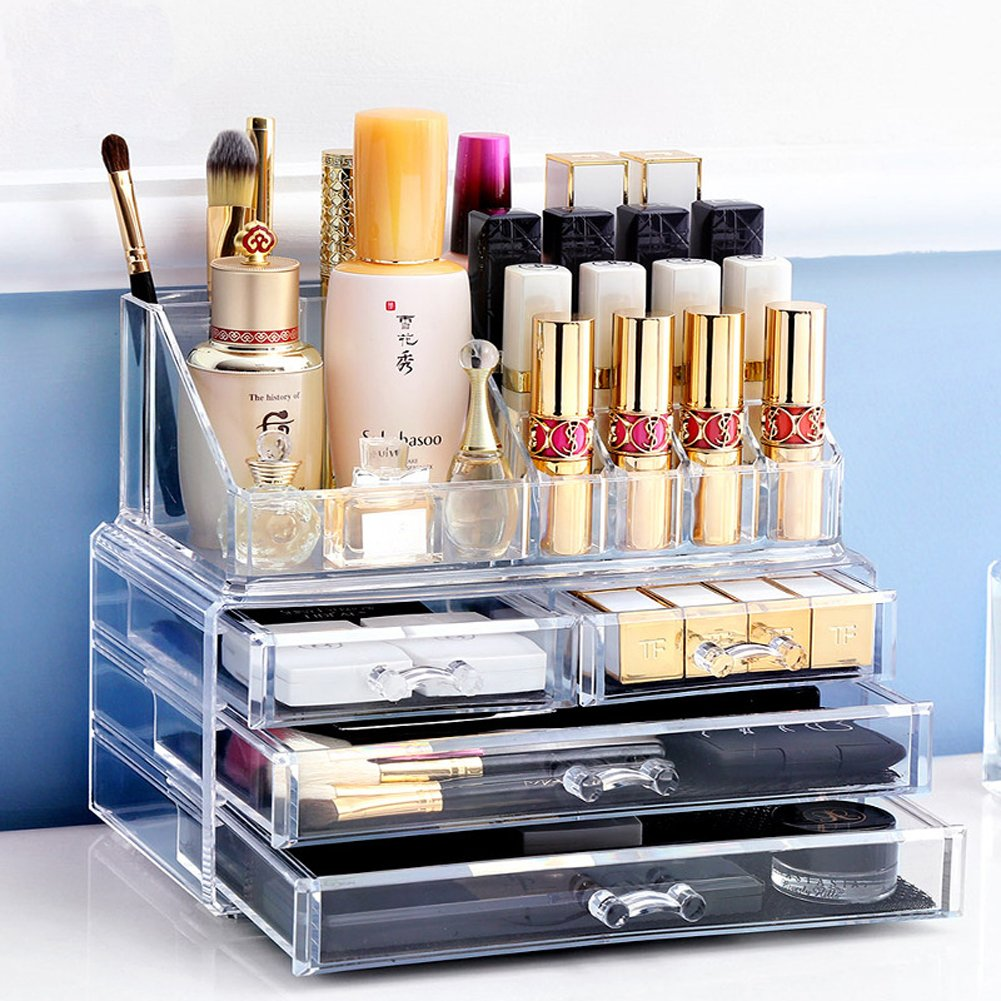 Biutee Jewelry Chest Makeup Organizer 2 Pieces Cosmetic Storage Box Premium Acrylic Drawers and Adjustable Jewelry Display Case Set with 4 Drawers