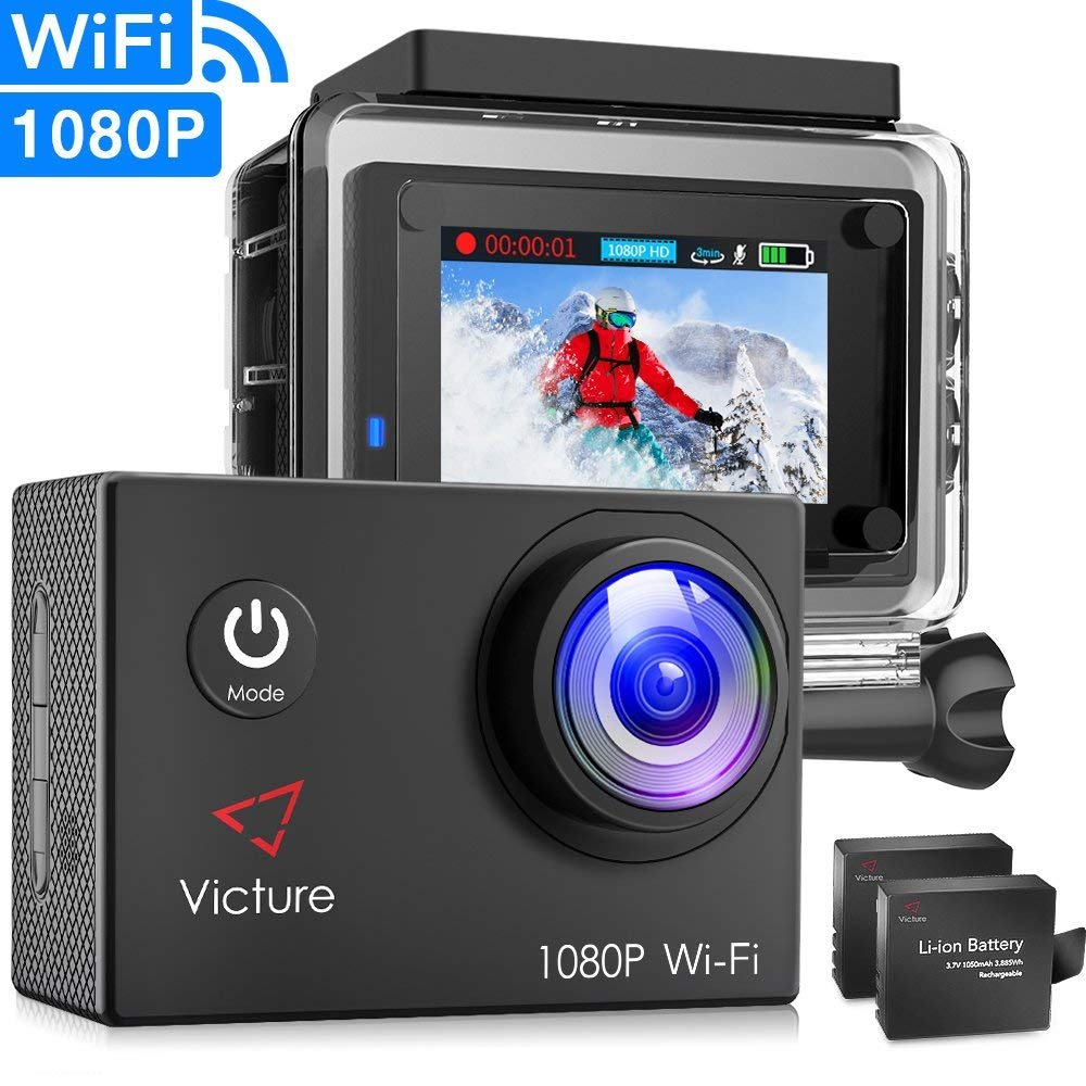Victure Action Camera WiFi 1080P Full HD 12MP Underwater Cam 2 Inch LCD 170 degree Wide-angle 30M Waterproof Sports Camera with 2 Rechargeable 1050mAh Batteries and Mounting accessories by Victure