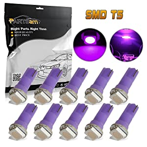 Partsam T5 37 73 74 2721 Instrument Panel LED Light Gauge Cluster Dash Indicator Bulbs for Silverado, Purple, Pack of 10
