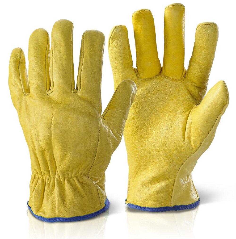 Qualität gefüttert Treiber Handschuhe gelb XL
