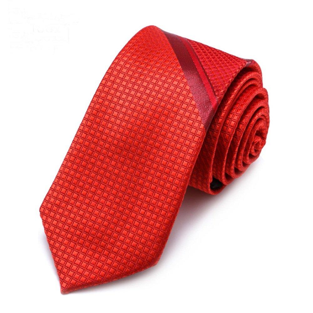 Y-WEIFENG Los Hombres Atan la Corbata roja Sólido Dos Rayas Tejido ...