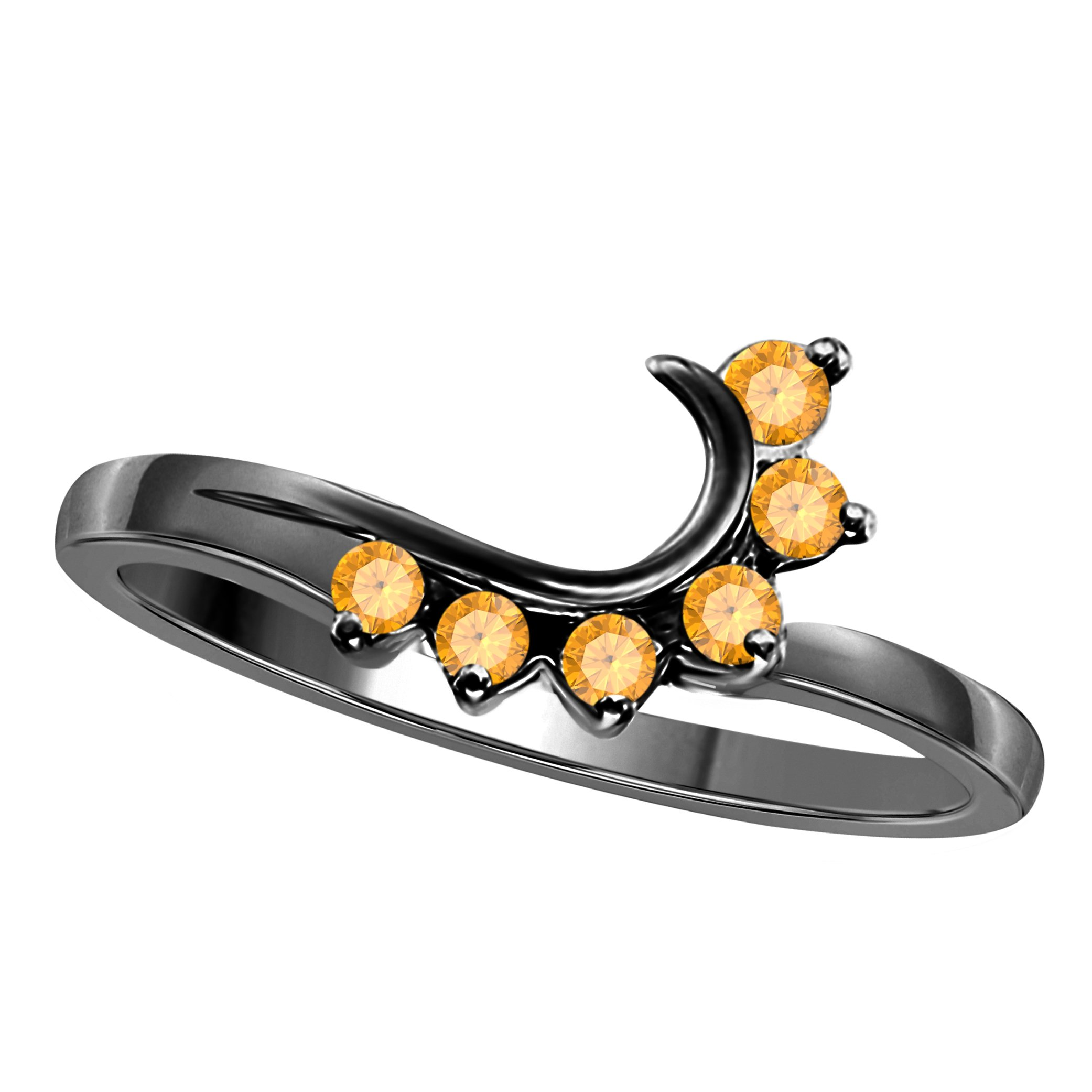 Silver Gems Factory 14K Black Gold Finish Round CZ Yellow Citrine Wedding Band Enhancer Guard Double Ring