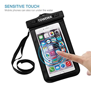 TOWEWA Universal Waterproof Case, Cellphone Dry Bag with Armband Neck Strap for iPhone7, 6s, 6, 6s Plus, SE, 5s, Samsung Note 5, S7 Edge, LG BLU Sony Huawei Motorola & Other Devices up to 6