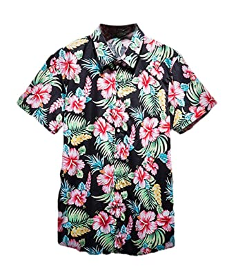 3a719345765 GRMO Men Hawaiian Flower Shirts Floral Short Sleeve Button Down Shirt Black  US XS