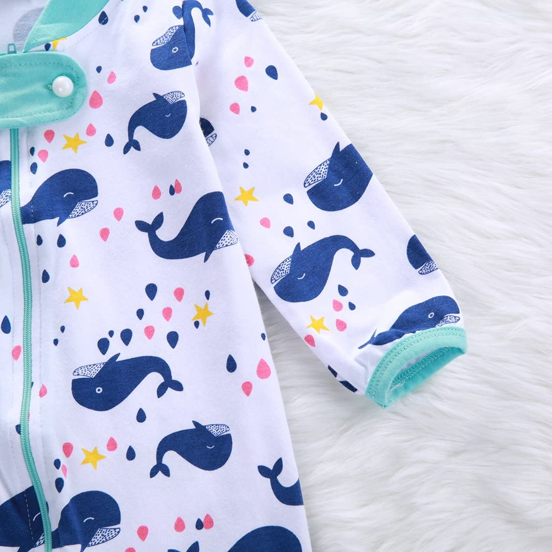 12-18M, White Guogo Newborn Baby Organic Cotton Long Sleeve Romper Blue Whale Jumpsuit Bodysuit Clothes Outfit