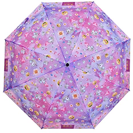 Paraguas Emoji Unicornio Niña Chica Rosa - Paraguas de Viaje Corto Compacto Estampado Emoticonos Caritas Oficiales de Whatsapp - Resistente Antiviento ...