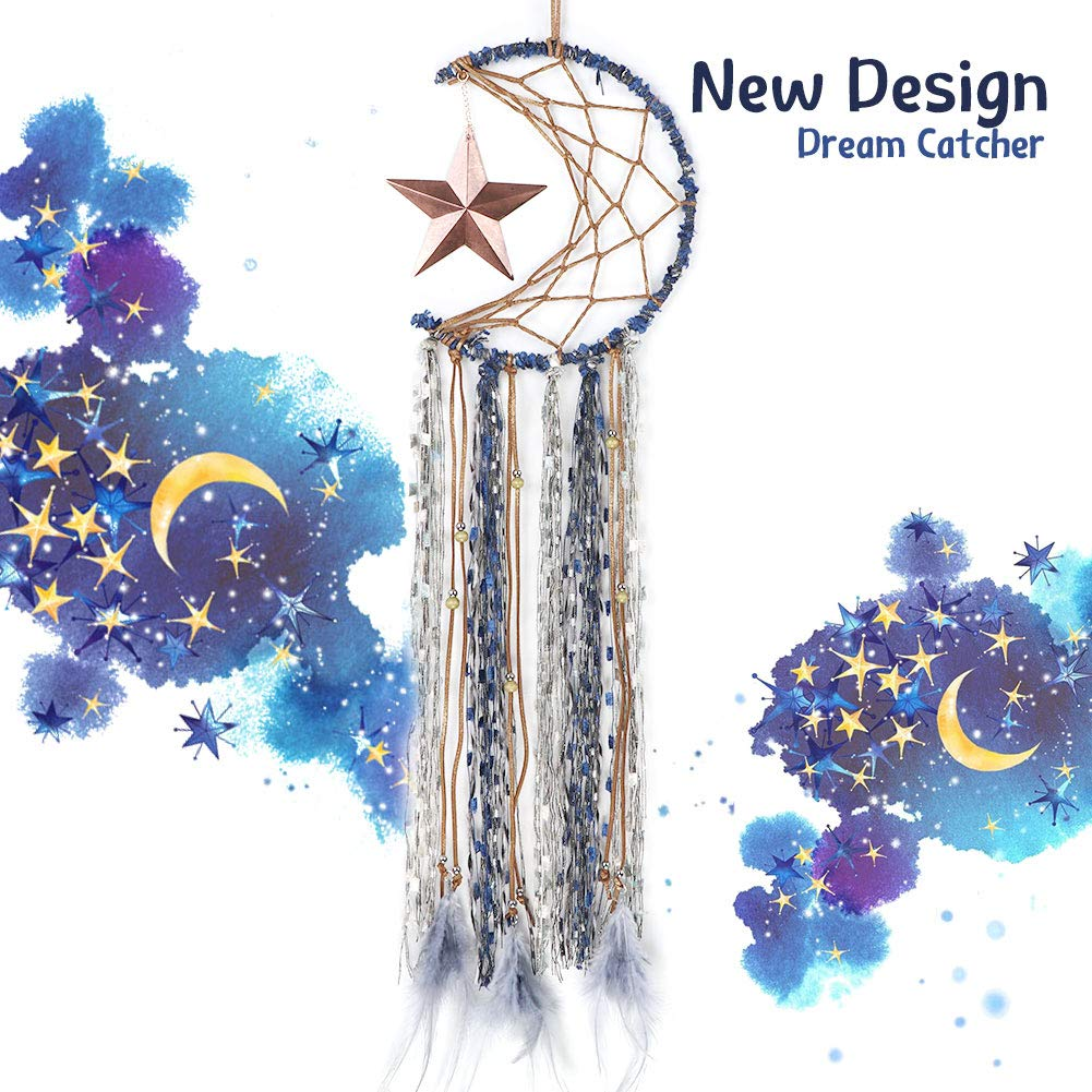 """AerWo Star Moon Dream Catchers for Moon Wall Decor, Handmade Moon and Stars Decorations for Bedroom Wall Hanging Festival Gift(Dia 7.5"""" Length 26"""")"""