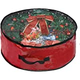 """ProPik Christmas Wreath Storage Bag 30"""" - Garland Holiday Container with Clear Window - Tear Resistant Fabric - 30"""" X 30"""" X 8"""