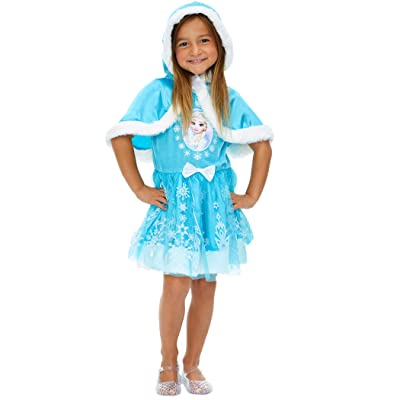 Disney Frozen Elsa Anna Girls Costume Dress with Hooded Cape: Clothing