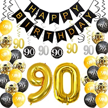 HankRobot 90th Birthday Decorations Party Supplies42pack Gold Number Balloon 90 Happy Banner