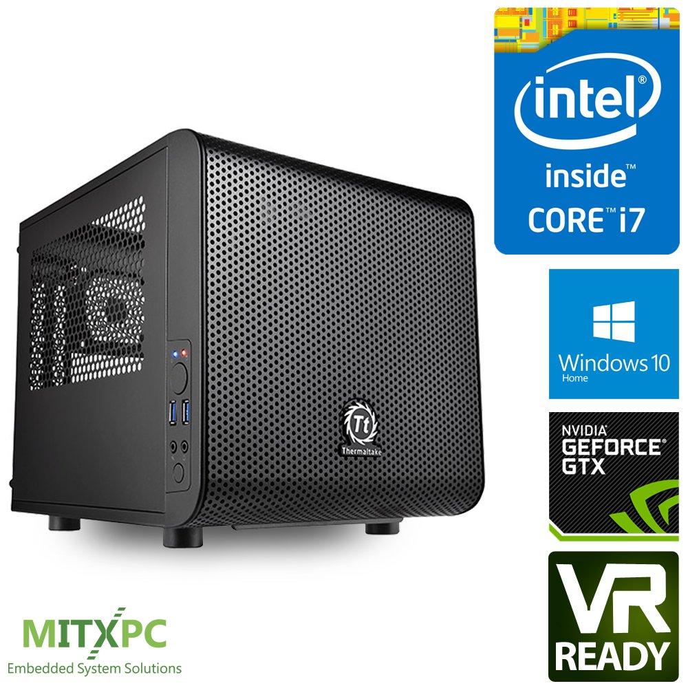 VR Ready Mini Gaming PC w/ Intel i7-7700, 16GB, 256GB NVMe M.2 SSD,2TB HDD, GTX 1080 TI, Win 10 home, CV1 - Configured and Assembled by MITXPC