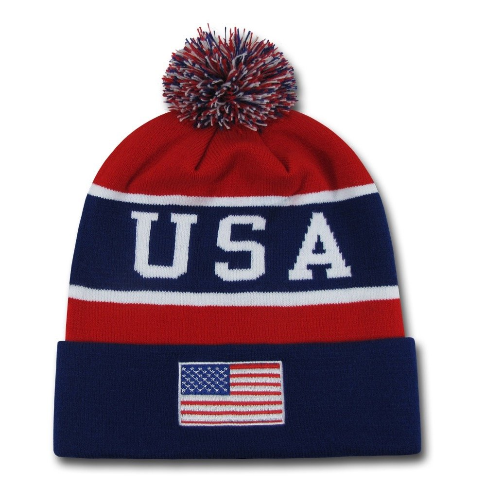 dbeccc589 W Republic USA Flag Team Beanies American Winter Olympics Patriotic Pom