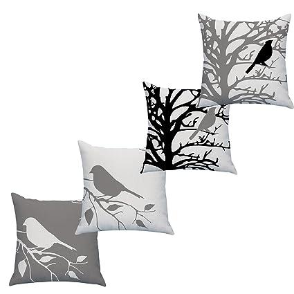 LAZAMYASA Square Cartoon Bird Printed Cushion Cover Cotton Throw Pillow Case Sham Slipover Pillowslip Pillowcase For