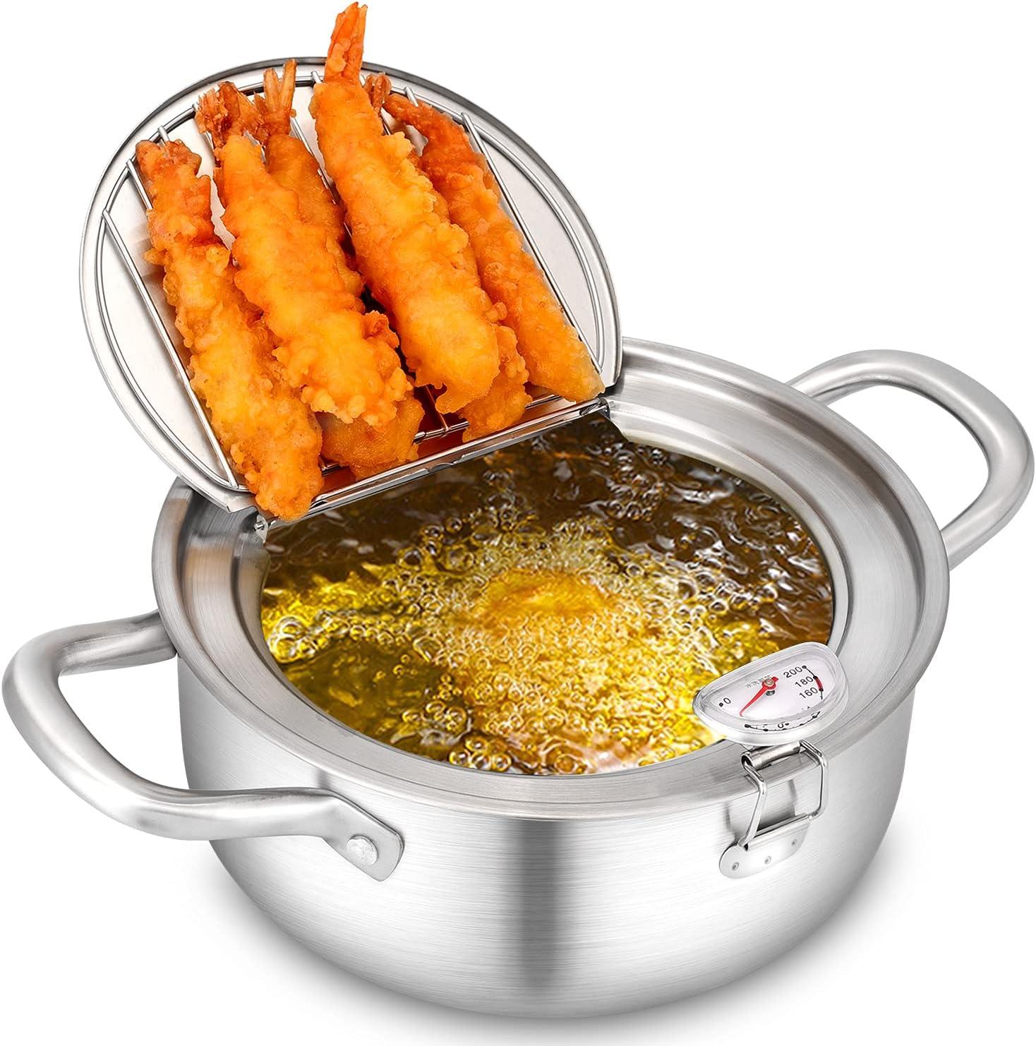 Maocaa Tempura Deep Fry Pot, 304 Stainless Steel Tempura Fryer with Thermometer, Lid Japanese Style Tempura Fryer Pan Uncoated Fryer (7.9)