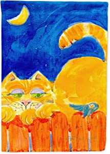 Caroline's Treasures 6020GF Orange Tabby Cat on The Fence Flag Garden Size, Small, Multicolor
