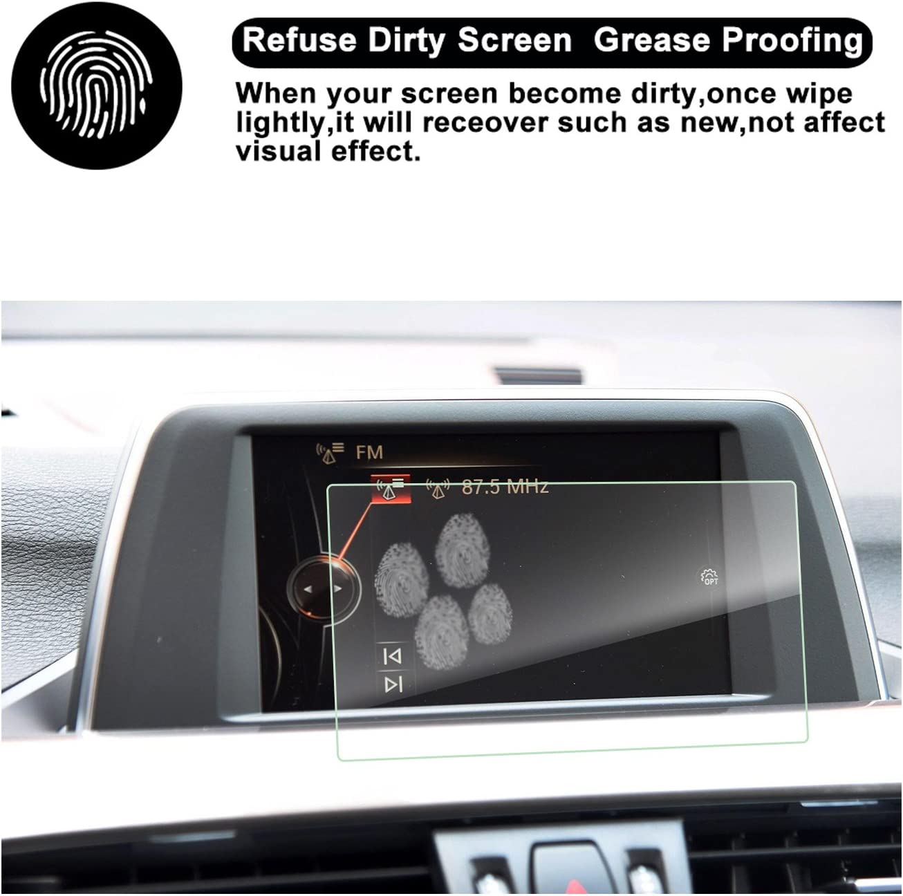 RUIYA Protecteur d/écran en verre tremp/é pour syst/ème de navigation BMW X1 2015-2018 ,Cristal clair HD,Protecteur d/écran-6,5 pouces F48