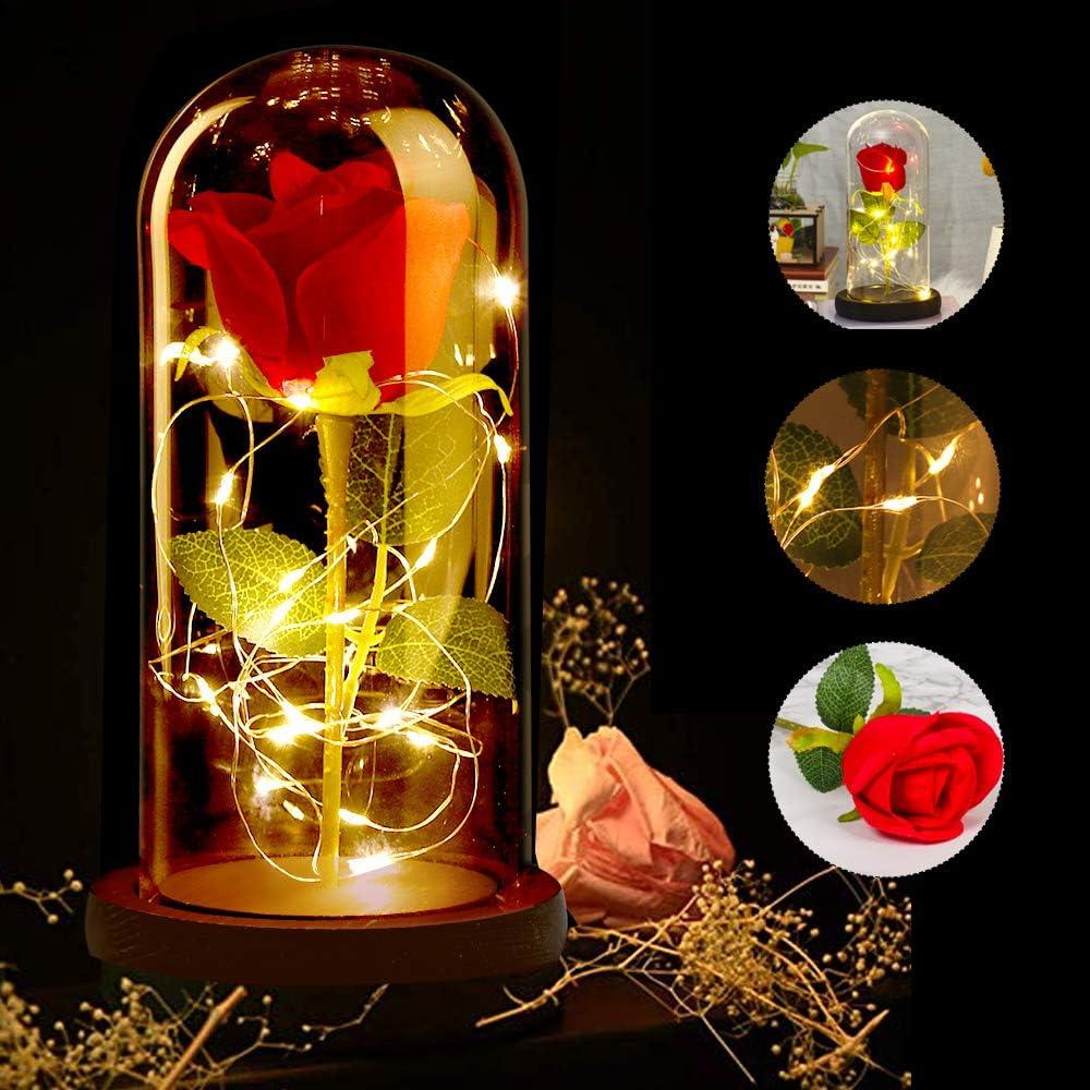 KIPIDA - Rosa eterna, la bella y la Bestia, rosa artificial con luz LED en cúpula de cristal para bodas, romántica, decoración, regalo, novia, cumpleaños, aniversario, amigos, amante