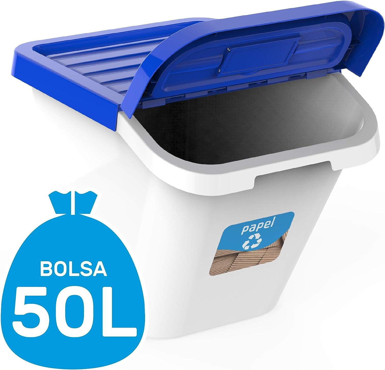 USE Family-Gama Recycle Juego de 3 contenedores 30L. Cubos de Basura de Reciclaje para Cocina apilables