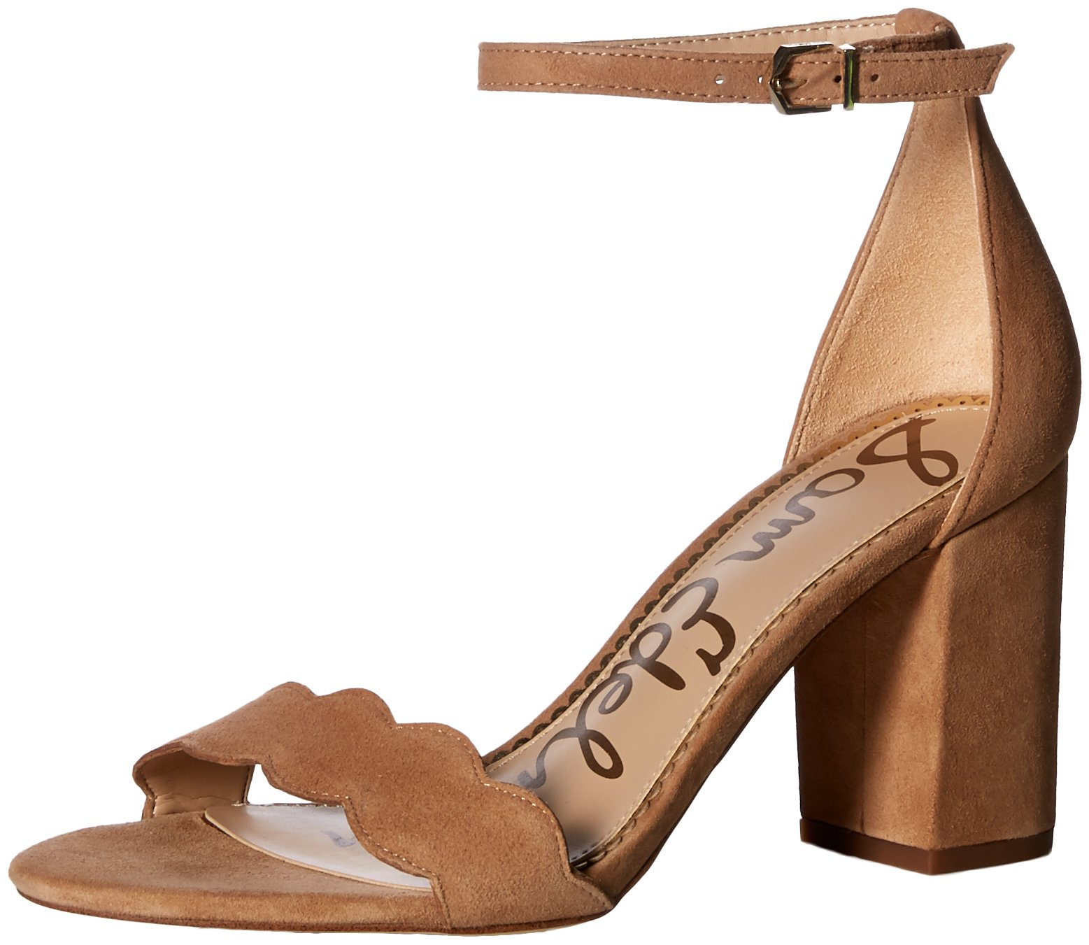 Sam Edelman Women's Odila Heeled Sandal, Golden Caramel Suede, 7 M US by Sam Edelman