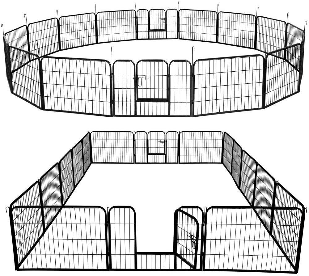 Topeakmart 24/32/40-inch Foldable Metal Dog playpen - Heavy Duty Portable Pets Playpen Foldable Dog Exercise Pen Barrier Kennel Puppy Fence w/ 2 Pcs Door Outdoor Indoor Black 16 Panels/32 Panels