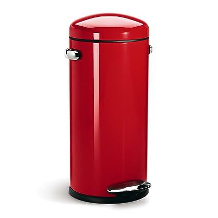 Favorite Amazon.com: simplehuman Round Retro Step Trash Can, Red Steel, 30  BT29