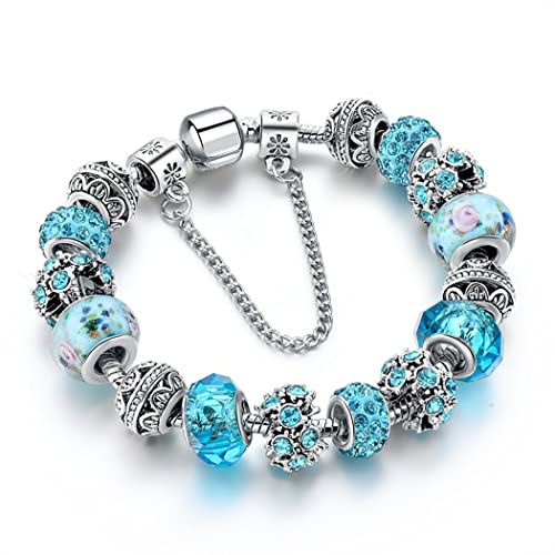 Choker Charm Bracelet Blue Crystal Beads Murano Glass Silver Chain Bracelet for Women Teen Girls