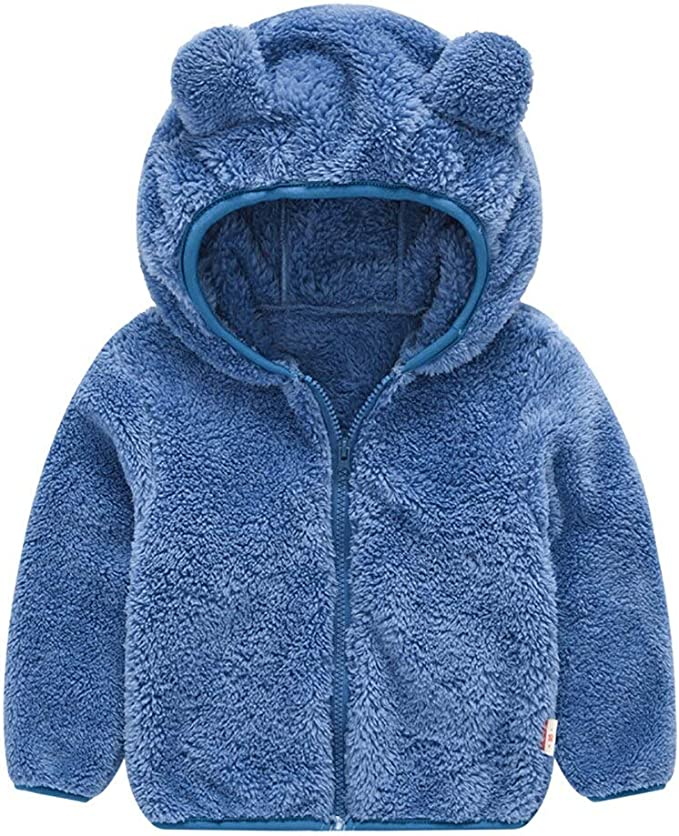 Peecabe Bear Ears Shape Fleece Warm Hoodies Clothes Toddler Zip-up Jacket Sweatshirt Outwear for Baby Boys Girls