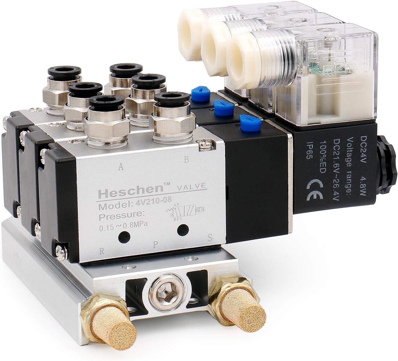 heschen eléctricos neumático Triple válvula solenoide 4V210–08DC 24V PT1/45way 2posición colector base Silenciador Rápida Accesorios Set