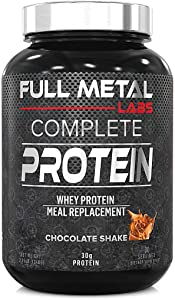 Full Metal Labs Complete Protein Meal Replacement Shake - All-in-one Delicious Low Calorie, Low carb, Low Sugar, Protein Shake with Real Whole Foods, Animal, Plant, & whey Protein