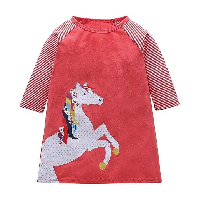 Vestido Bebés, LANSKIRT Recién Nacidos Bebés Niñas Manga Larga Ropa de Impresión de Pony Vestido