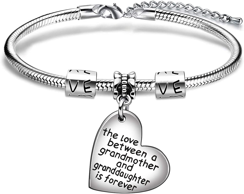 AGR8T Pulsera regalo de la abuela El amor entre una abuela y la nieta es para siempre.