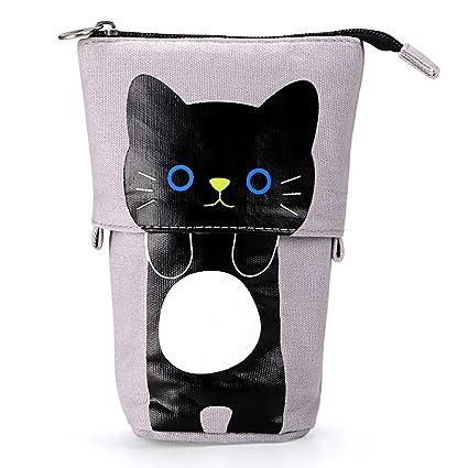 BTSKY Bolsa Estuche para Lápices Desplegable Hacia Bajado con Dibujo de Gato Encantador Bolso de Lápices