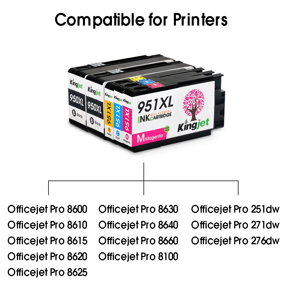 Kingjet Compatible Ink Cartridge Replacement for 950XL 951XL Work with Officejet Pro 8100 8600 8610 8615 8620 8625 8630 Printers, (1Set+1BK) with Updated Chips by Kingjet (Image #2)