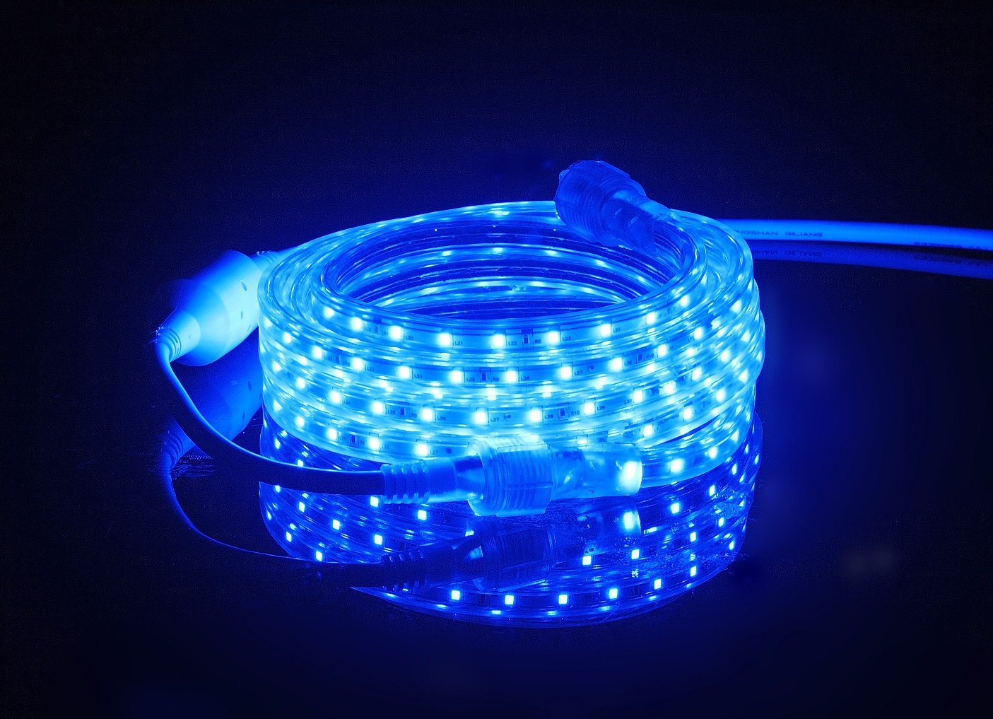 CBconcept UL Listed, 50 Feet, 5500 Lumen, Blue, Dimmable, 110-120V AC Flexible Flat LED Strip Rope Light, 930 Units 3528 SMD LEDs, Indoor/Outdoor Use, Accessories Included, [Ready to use] by CBconcept (Image #2)