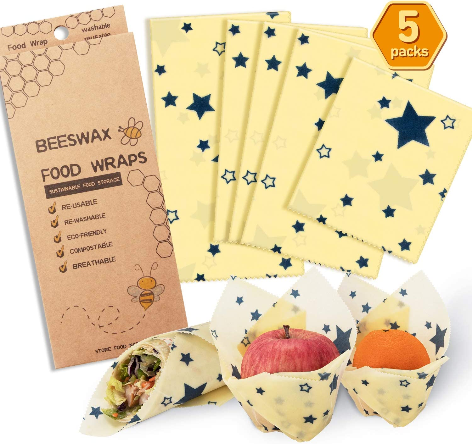 Reusable Beeswax Food Wrap 5 Packs Organic Reusable Food Wrap Beeswax Wrap, Eco Friendly, Organic, Bees Wax Food Storage Wrappers Cling Sandwich, Food Wrap Alternative To Plastic Bags Wraps(Star)