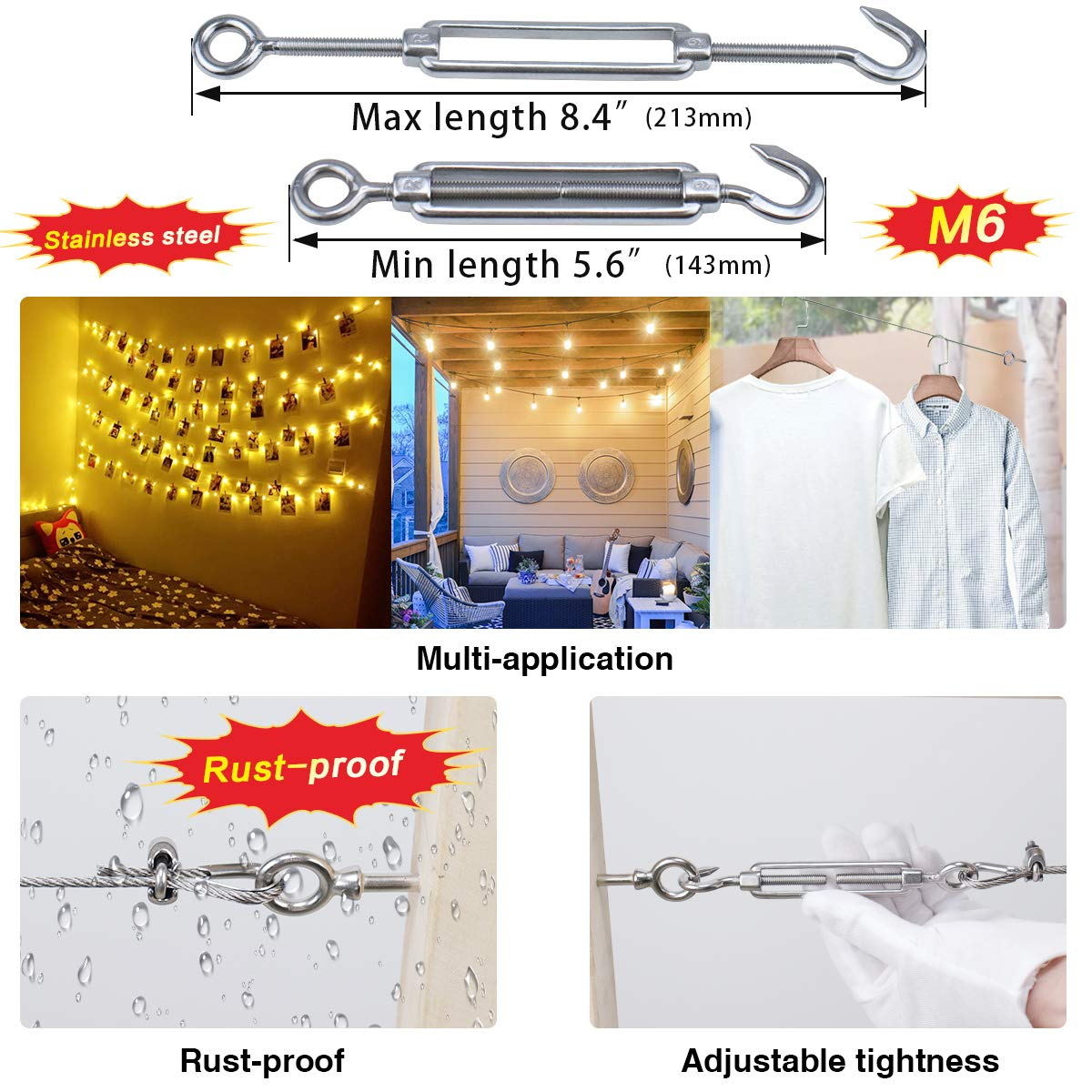 Muzata 1//8 Cable Railing Kit 4PACK,Inluded M6 Stainless Steel Hook Eye Turnbuckle Tension 4Pcs,M3 1//8 Wire Rope Cable Clip Clamp 8Pcs,M3 Stainless Steel Thimble 8Pcs
