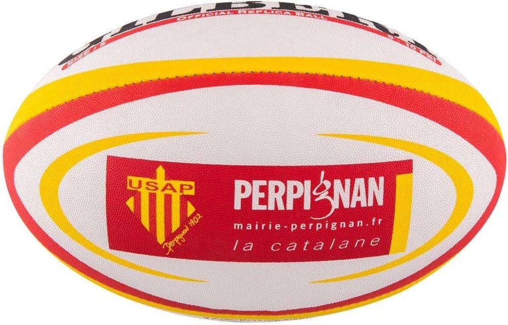 GILBERT Ballon de rugby REPLICA - Perpignan - Taille 5: Amazon.es ...
