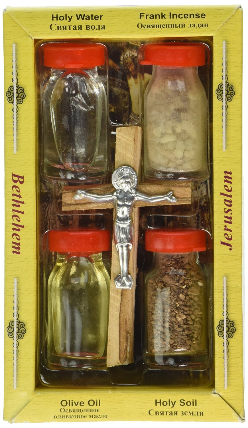 Holy Land Zuluf Set 5 in 1 Olive Wood Cross Set with 3 Bottles - Oil, Jordan Water & Holy Earth HLG005