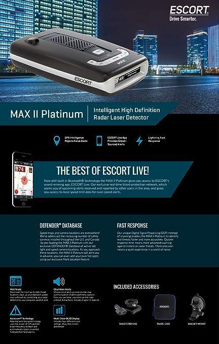 Amazon.com: Escort MAXII Platinum - Radar Laser Detector w/Smartcord Live, AutoLearn Technology, ESCORT Live App, Bluetooth, GPS, Speed Alerts, ...