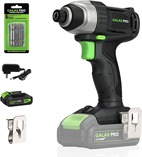 Impact Driver, GALAX PRO 20V Lithium Ion 1 4 Hex Cordless Impact Driver with LED Work Light, 6pcs Screwdriver Bits, Variable Speed 0-2800RPM – 1.3Ah Battery and Charger Included