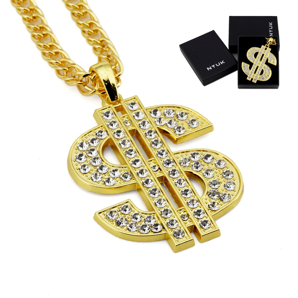 Mens gold chain dollar pendant hip hop rhinestone necklace jewelry mens gold chain dollar pendant hip hop rhinestone necklace jewelry gift for him aloadofball Choice Image