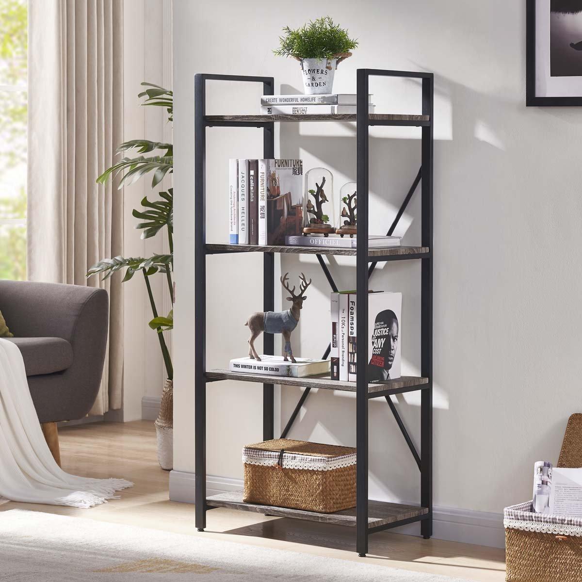 BON AUGURE 4-Shelf Open Narrow Bookshelf, Vintage Industrial Bookcase, Rustic Wood and Metal Shelf, Dark Oak