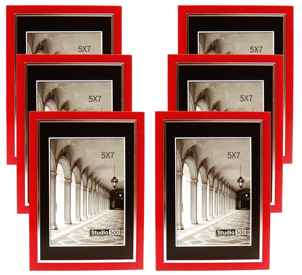 Studio 500, 5 by 7-inch from Our Modern Collection, Colorful Sleek Frames, (Red)