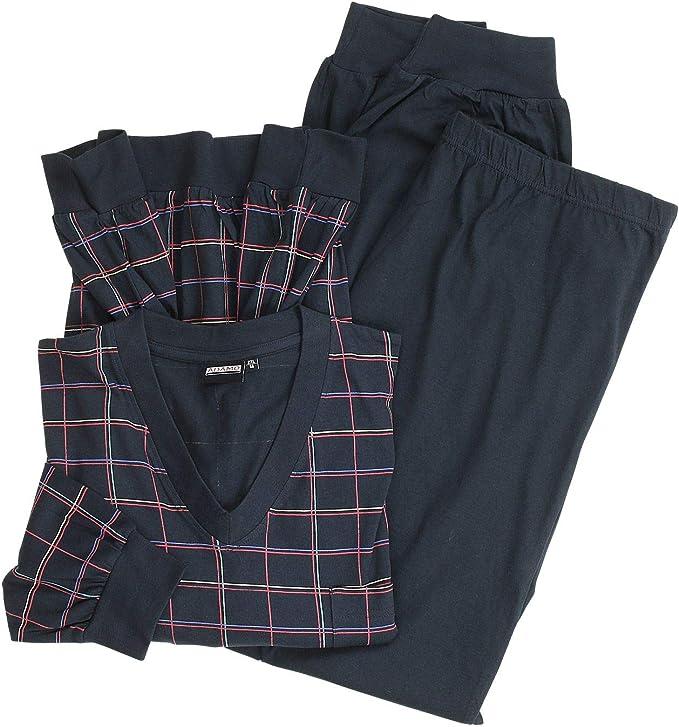 ADAMO Pijama largo a cuadros en azul oscuro, talla grande 10XL