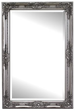 mirror 60 x 90. solid wood - shabby chic wall mirror large 90 x 60 cm silver