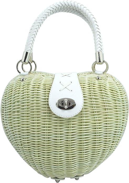 Vintage Handbags, Purses, Bags *New* Dancing days Vintage 50s Ivory Heart Shaped Wicker basket Handbag $53.00 AT vintagedancer.com