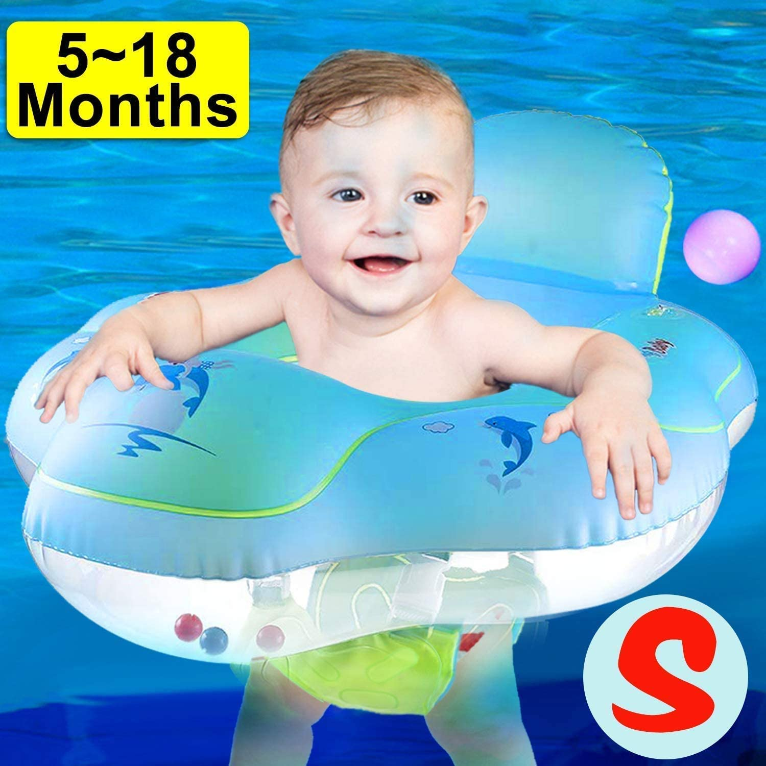 AMENON 【Anti Rollover】 Baby Pool Floats Swimming Ring with Safe Seat & Backrest, Inflatable Baby Swimming Float, Swimming Pool Accessories-Newborn Baby Kid Toddler (S-5-18Months (11-26.5lbs)) (S)