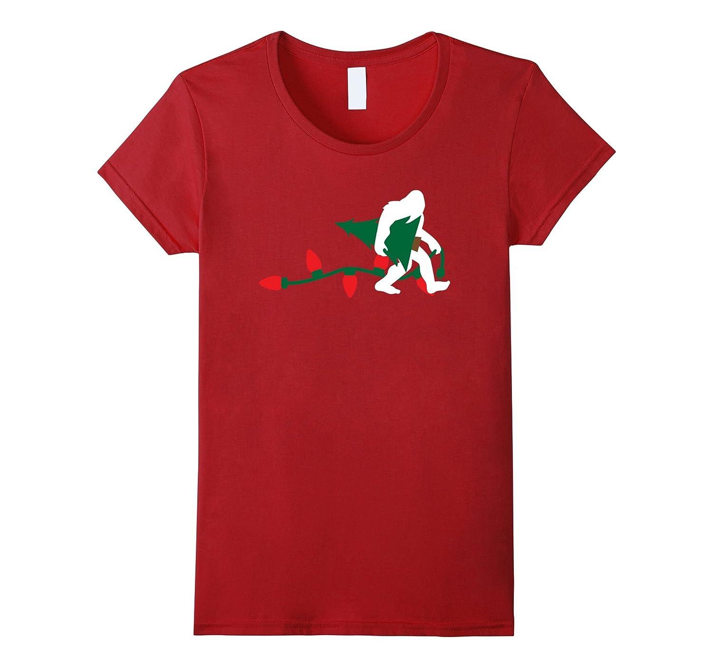 Bigfoot Carrying Christmas Tree Shirt Holiday Sasquatch Gift